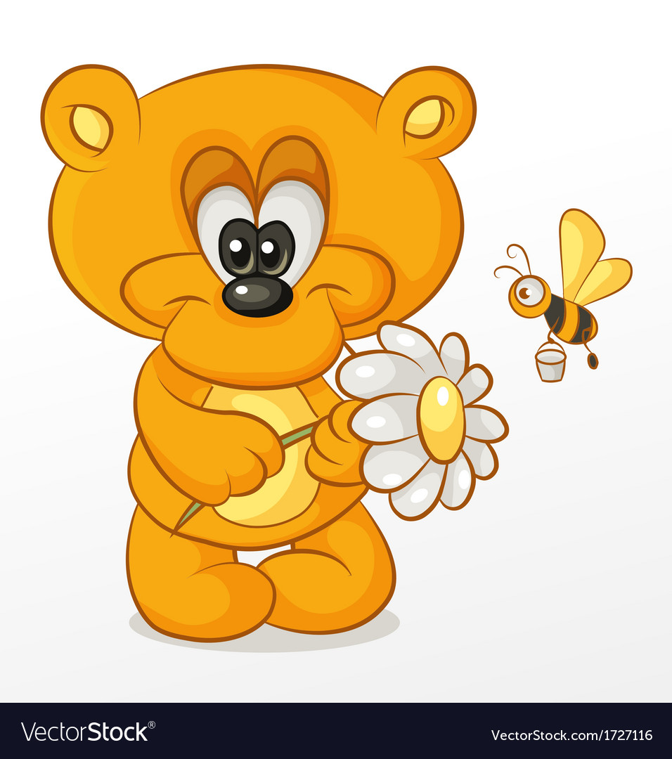 Bear with flower vector | Price: 1 Credit (USD $1)