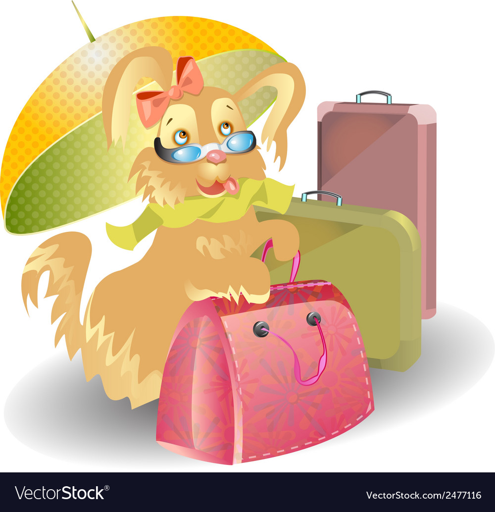Dog travel with suitcases cartoon vector | Price: 1 Credit (USD $1)