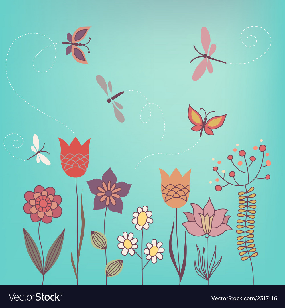 Garden flowers vector | Price: 1 Credit (USD $1)