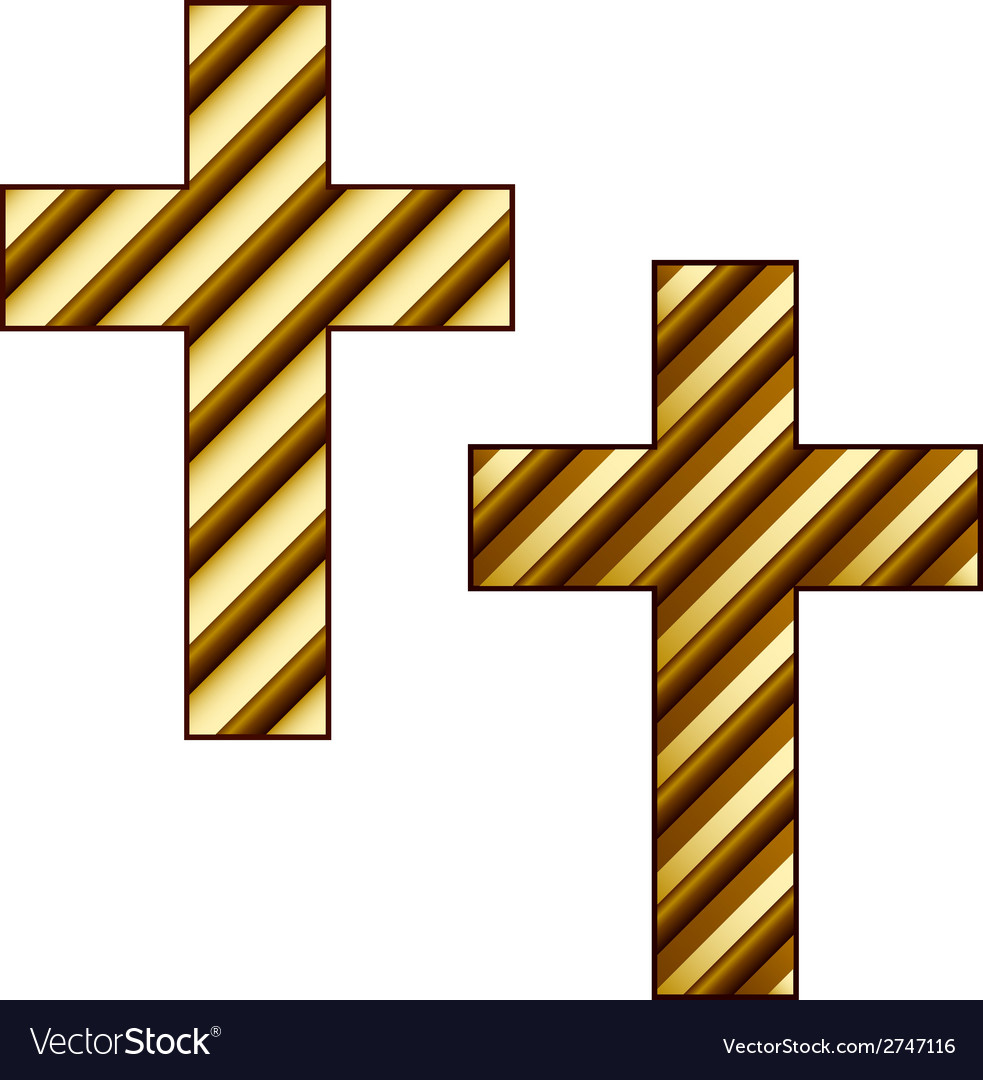 Golden striped christian cross vector | Price: 1 Credit (USD $1)