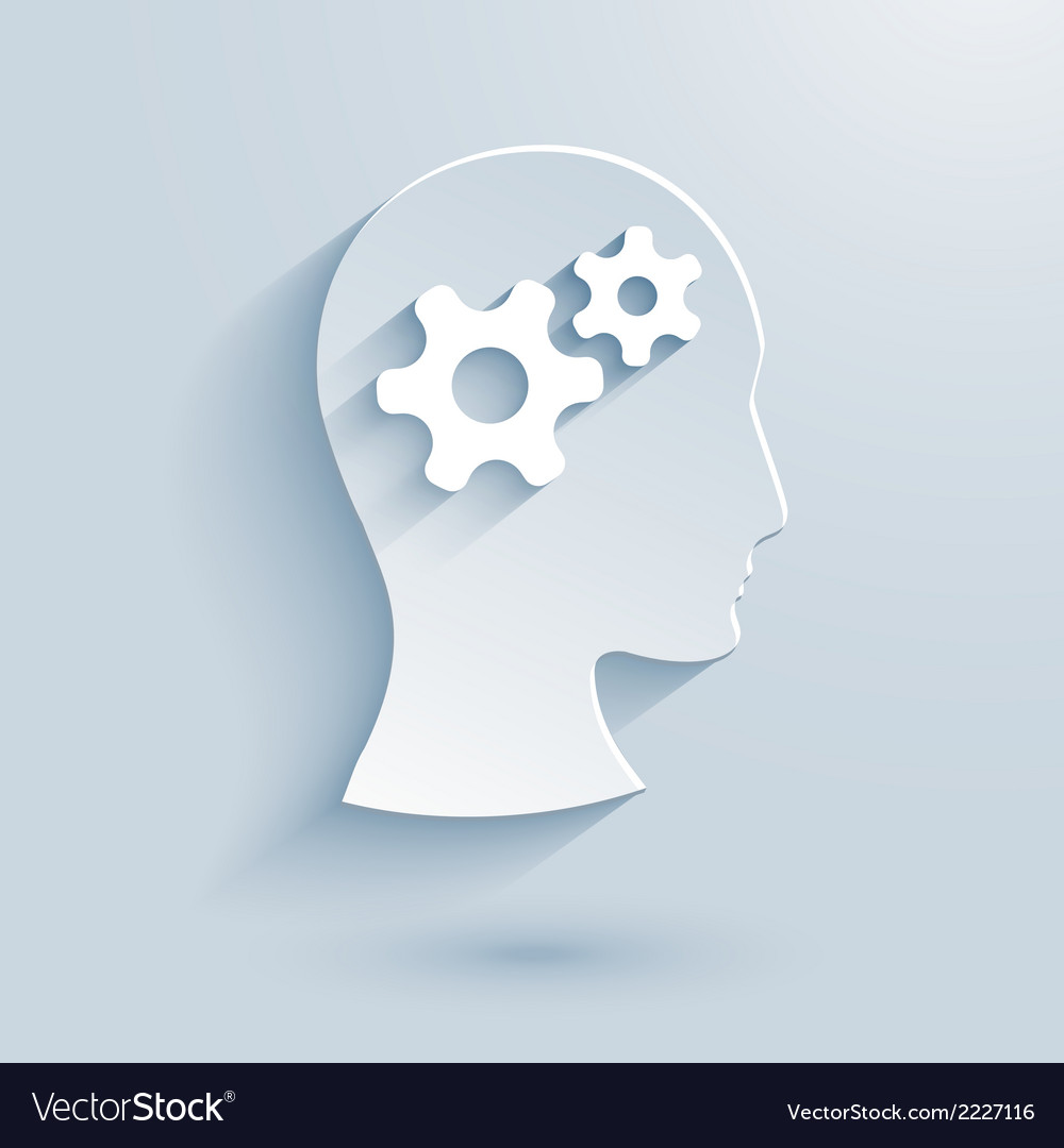 Human head with gears paper icon vector | Price: 1 Credit (USD $1)