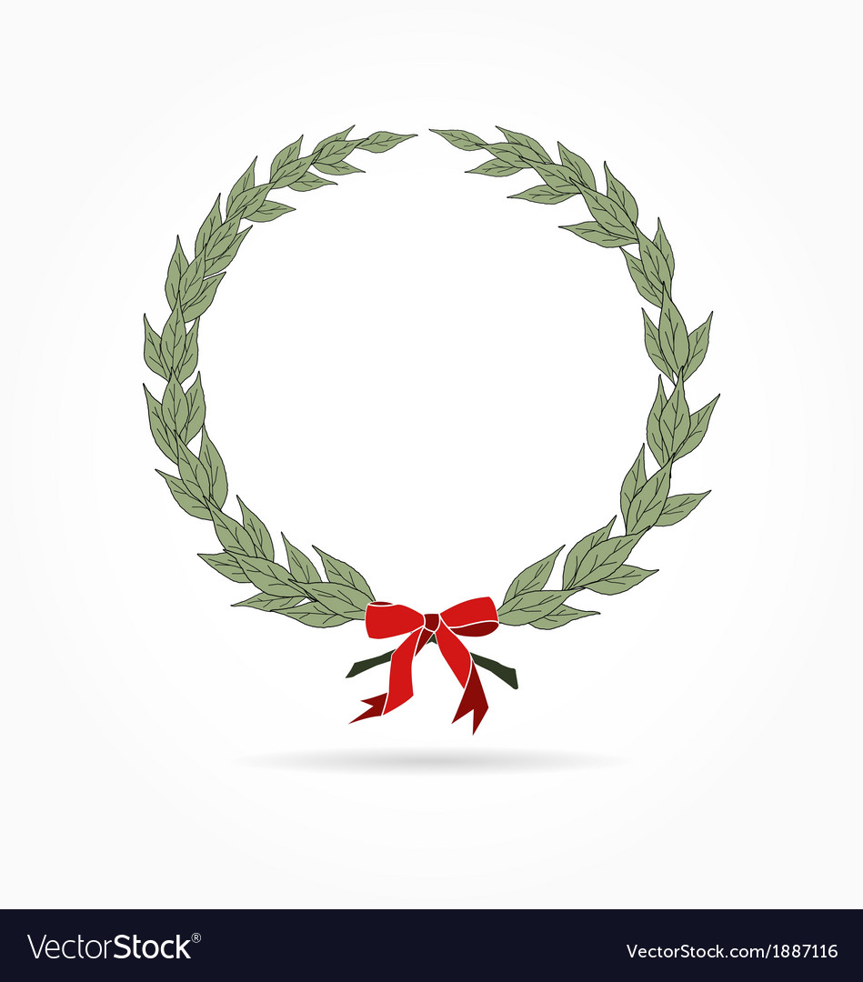 Laurel wreath with red bow vector | Price: 1 Credit (USD $1)