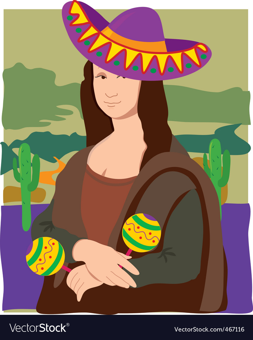 Mona lisa sombrero vector | Price: 1 Credit (USD $1)