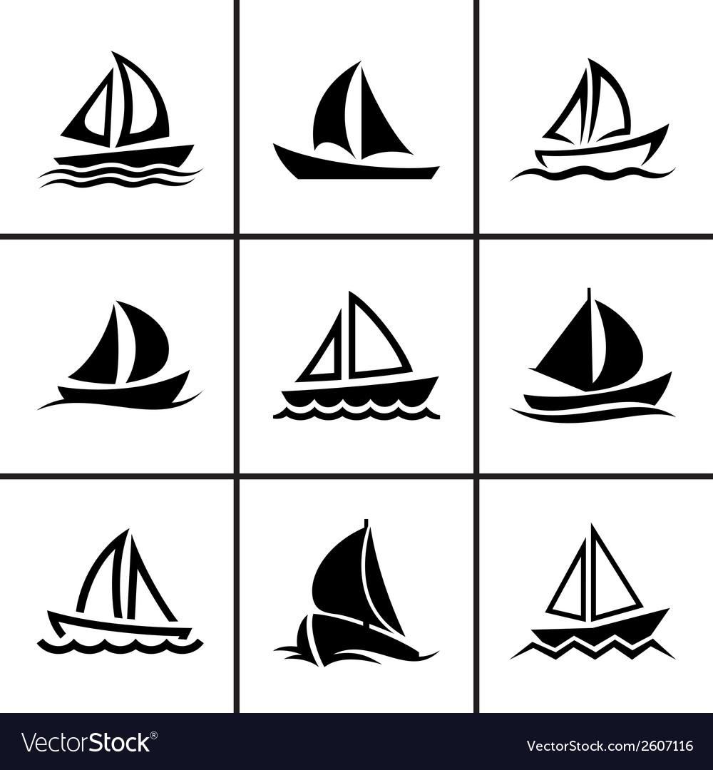 Sail boat icons set vector | Price: 1 Credit (USD $1)