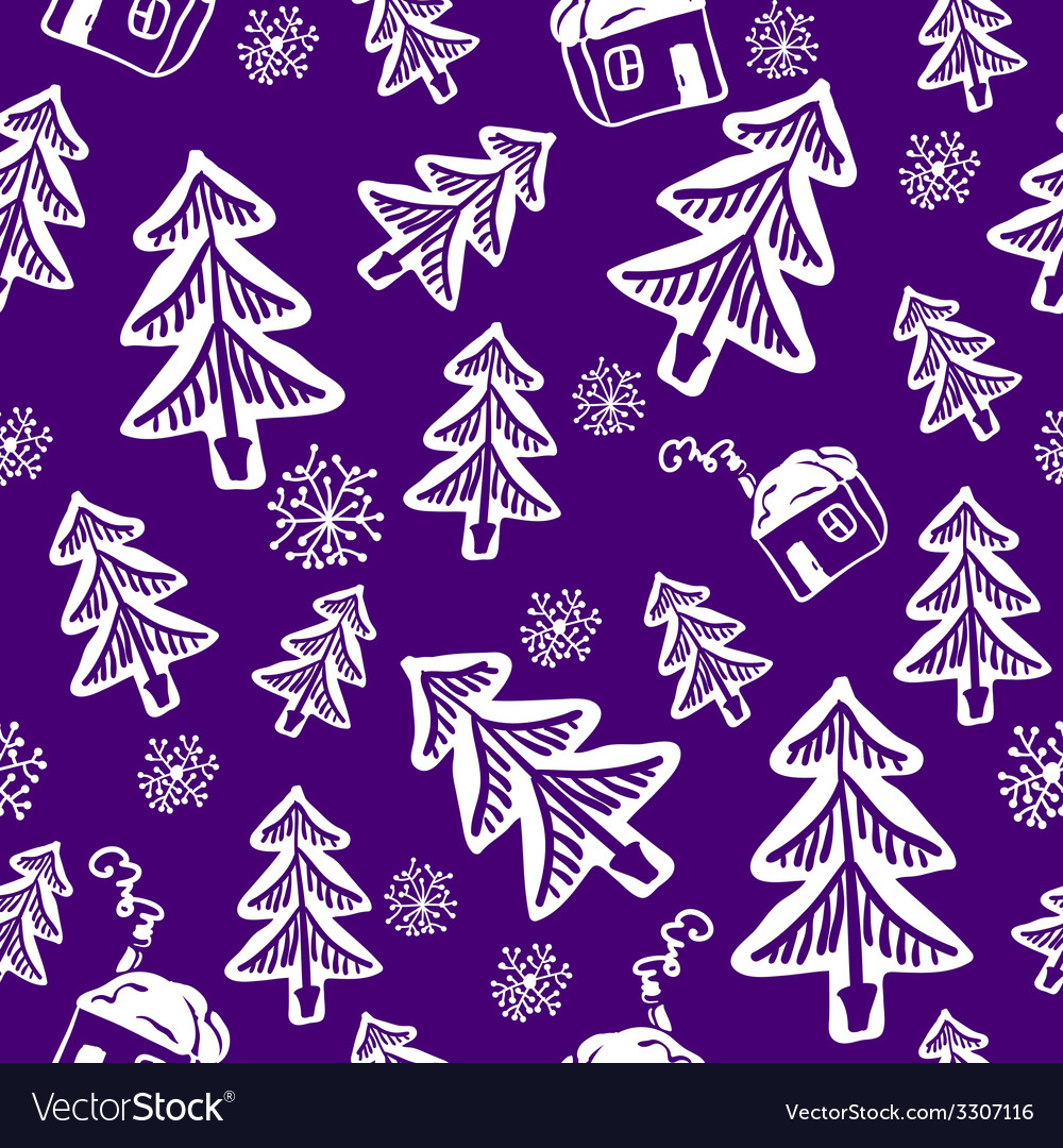 Seamless doodle with tree and house vector | Price: 1 Credit (USD $1)