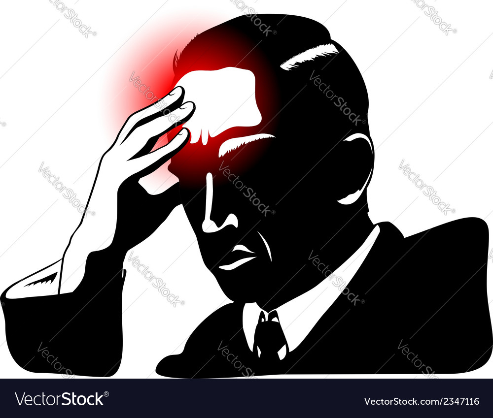 Silhouette of man with headache vector | Price: 1 Credit (USD $1)