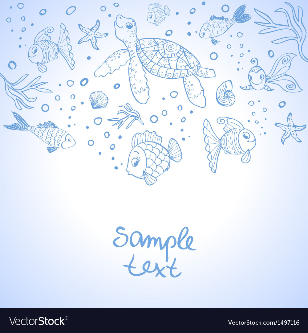 Turtle and fish silhouette vector | Price: 1 Credit (USD $1)