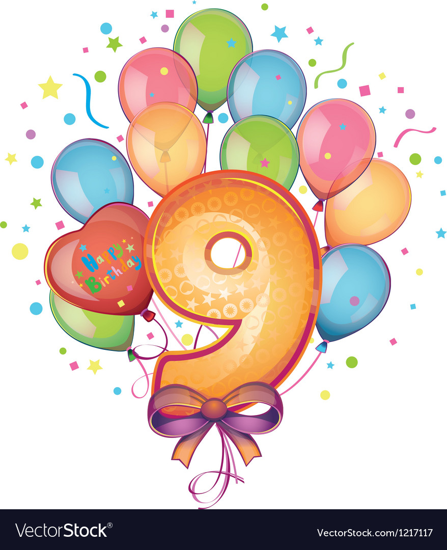 9 happy birthday vector | Price: 3 Credit (USD $3)