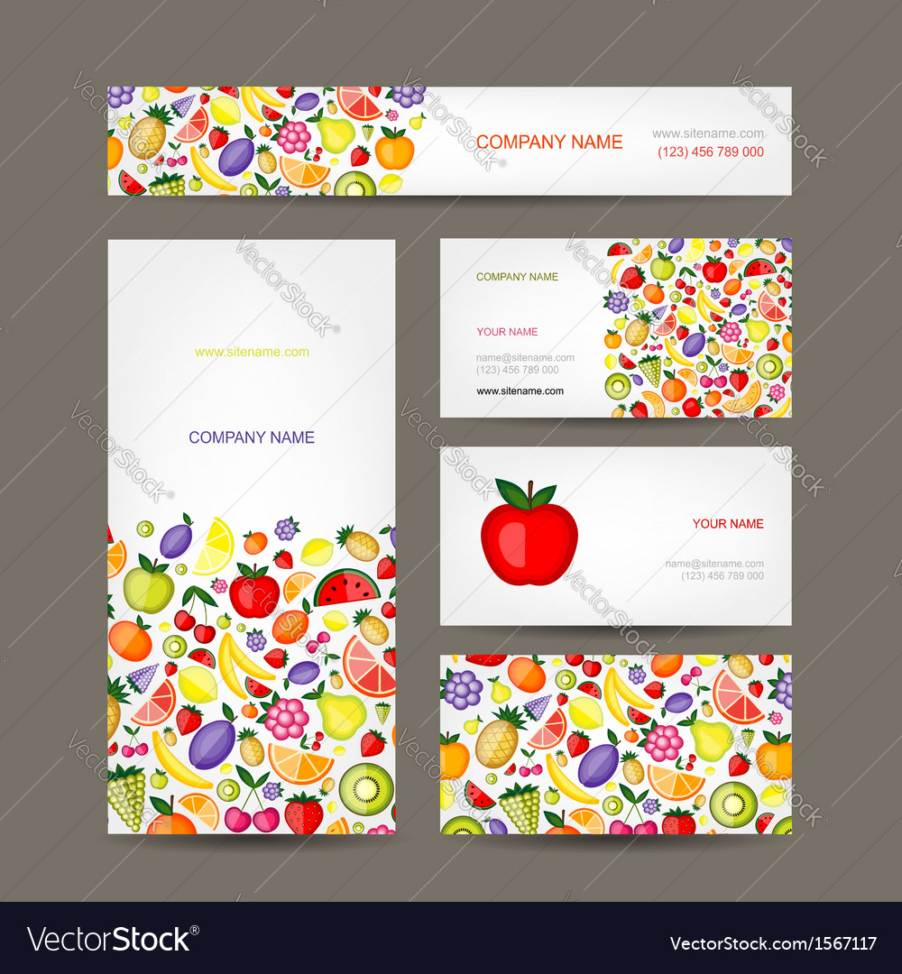 Business cards design fruit background vector | Price: 1 Credit (USD $1)