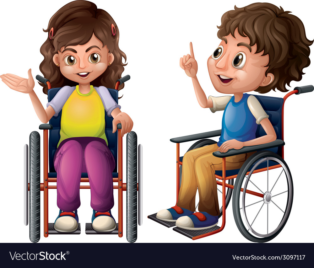 Children and wheelchair vector | Price: 1 Credit (USD $1)
