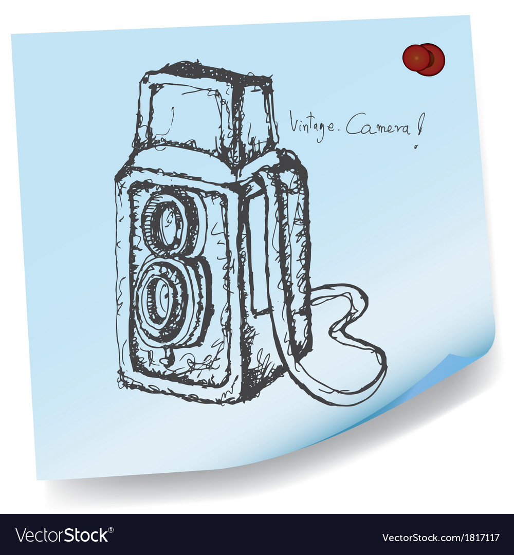 Drawing of vintage camera on sticky paper vector | Price: 1 Credit (USD $1)