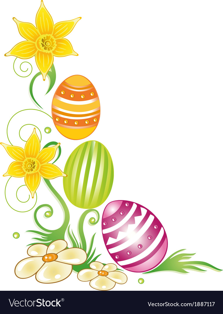 Easter eggs daffodils vector | Price: 1 Credit (USD $1)