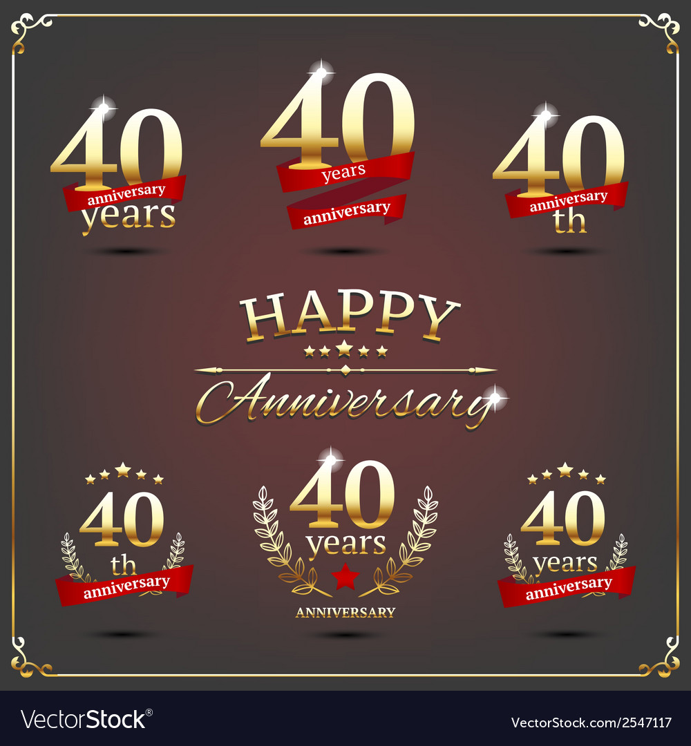 Forty years anniversary signs collection vector | Price: 1 Credit (USD $1)