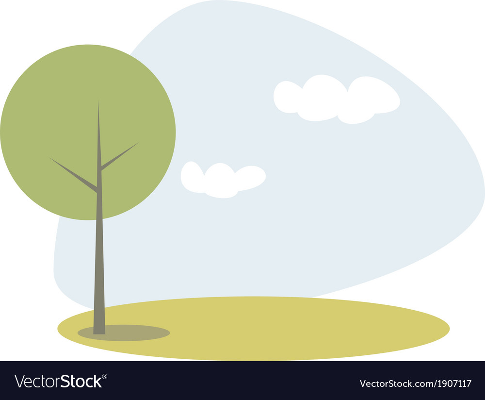 Green tree on the hill at blue sky spring day vector | Price: 1 Credit (USD $1)