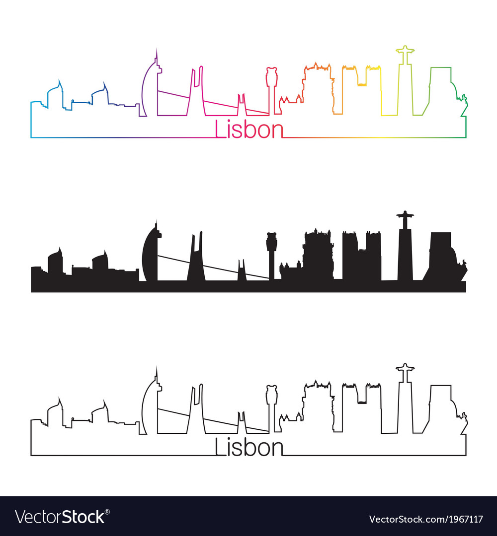 Lisbon skyline linear style with rainbow vector | Price: 1 Credit (USD $1)