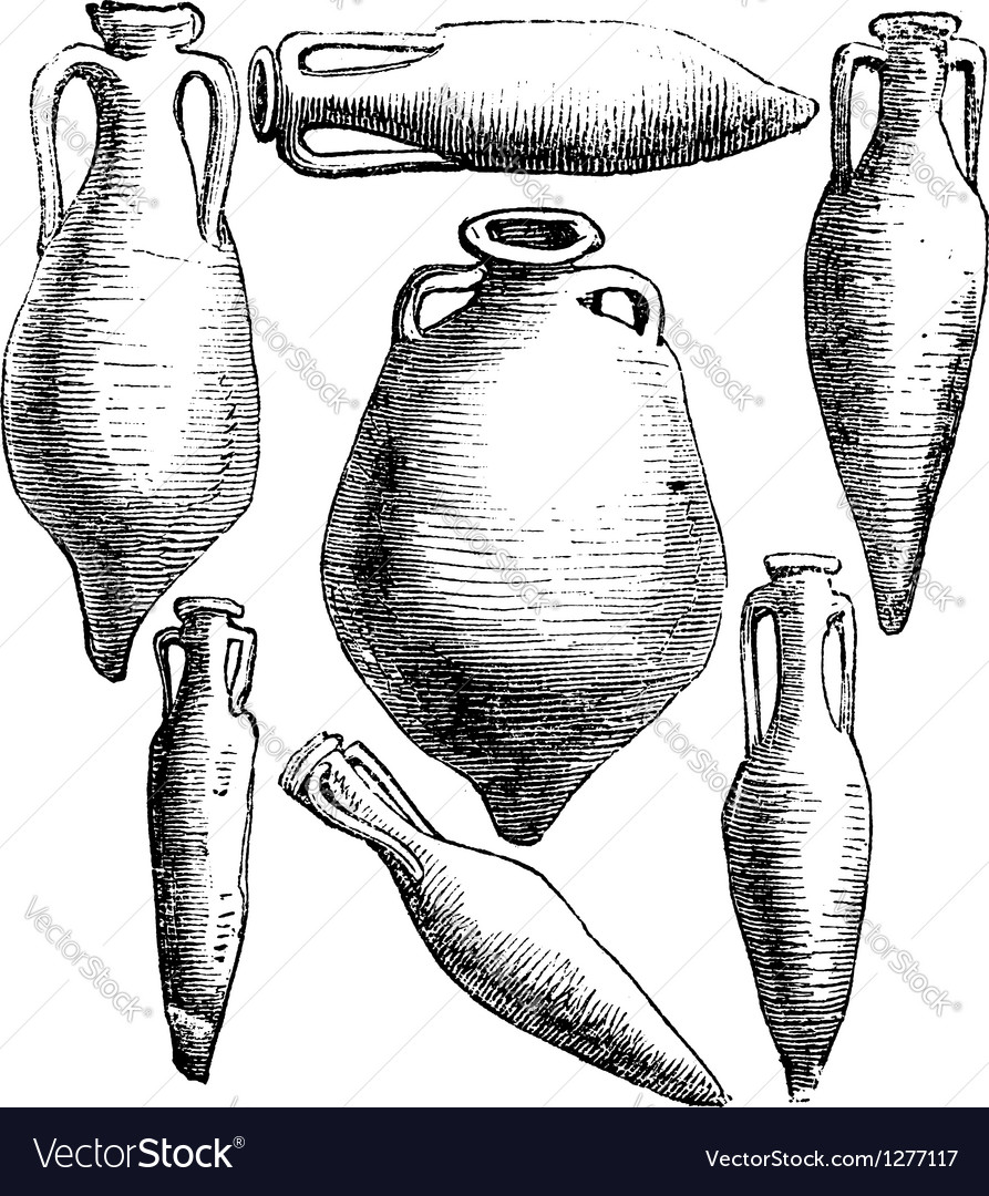 Roman vases vintage engraving vector | Price: 1 Credit (USD $1)