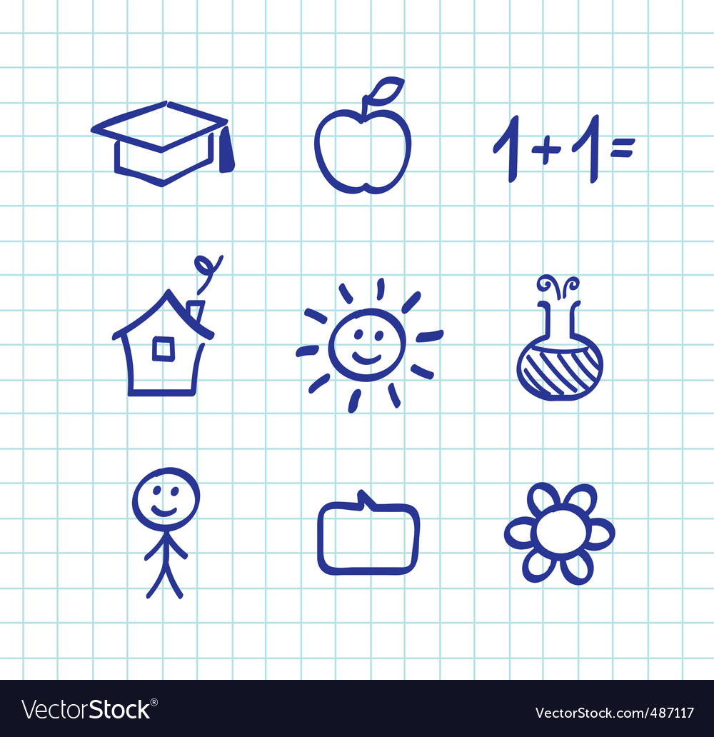 School doodle icons  blue vector | Price: 1 Credit (USD $1)