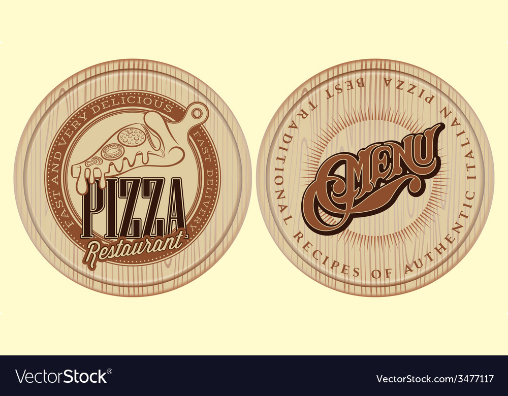 Set of boards for pizza with inscriptions vector | Price: 1 Credit (USD $1)
