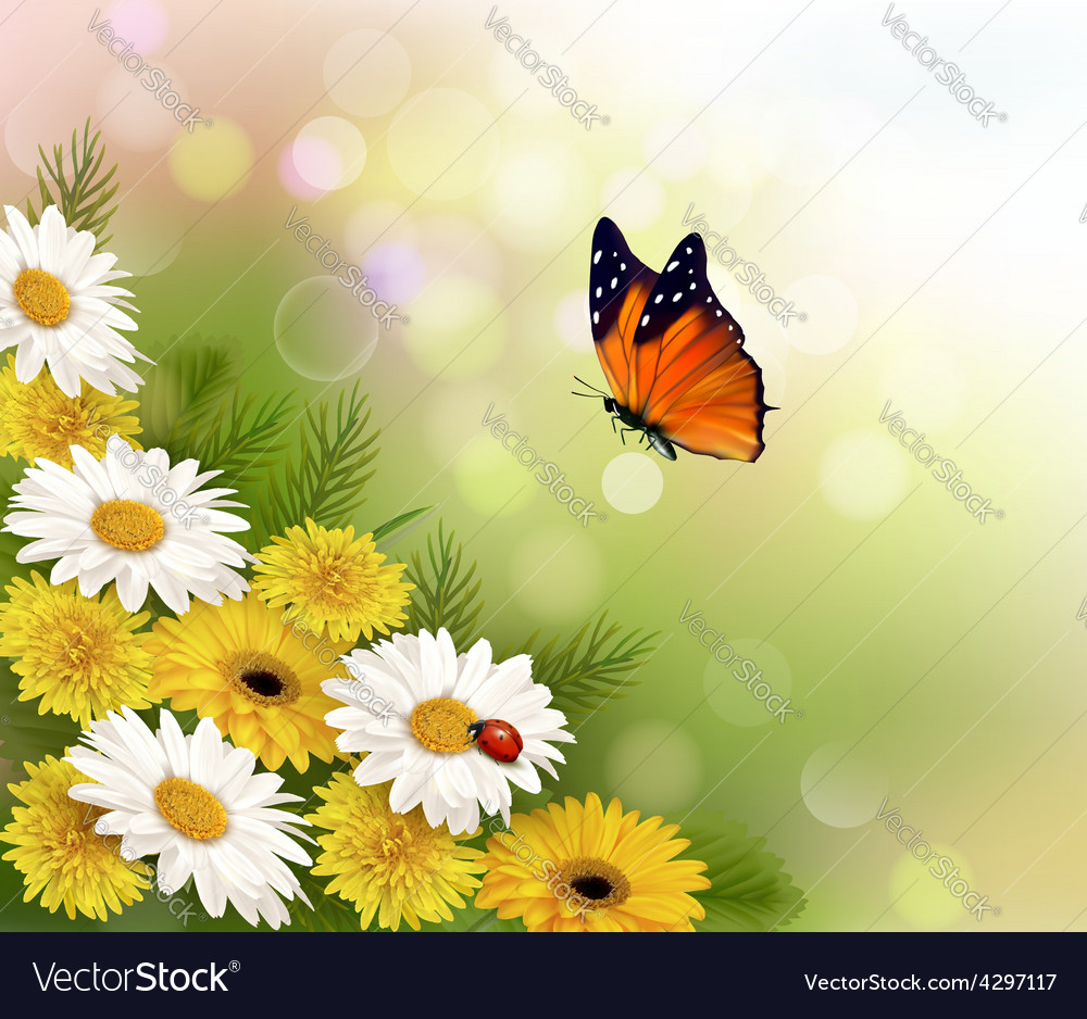 Spring background flowers and a butterfly vector | Price: 3 Credit (USD $3)