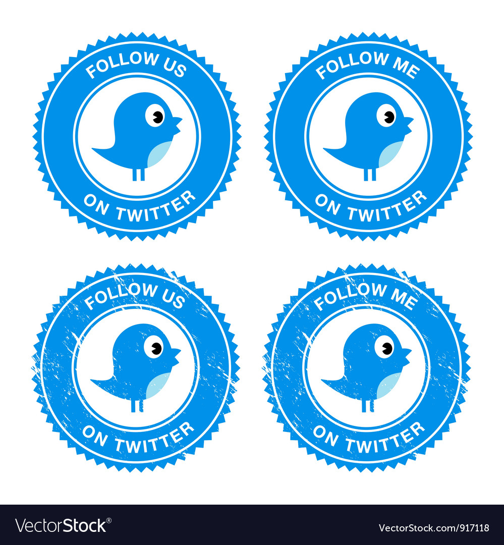 Blue bird social media follow retro labels vector | Price: 1 Credit (USD $1)