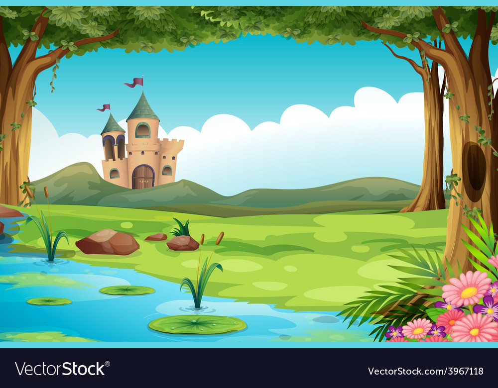 Castle and pond vector | Price: 3 Credit (USD $3)