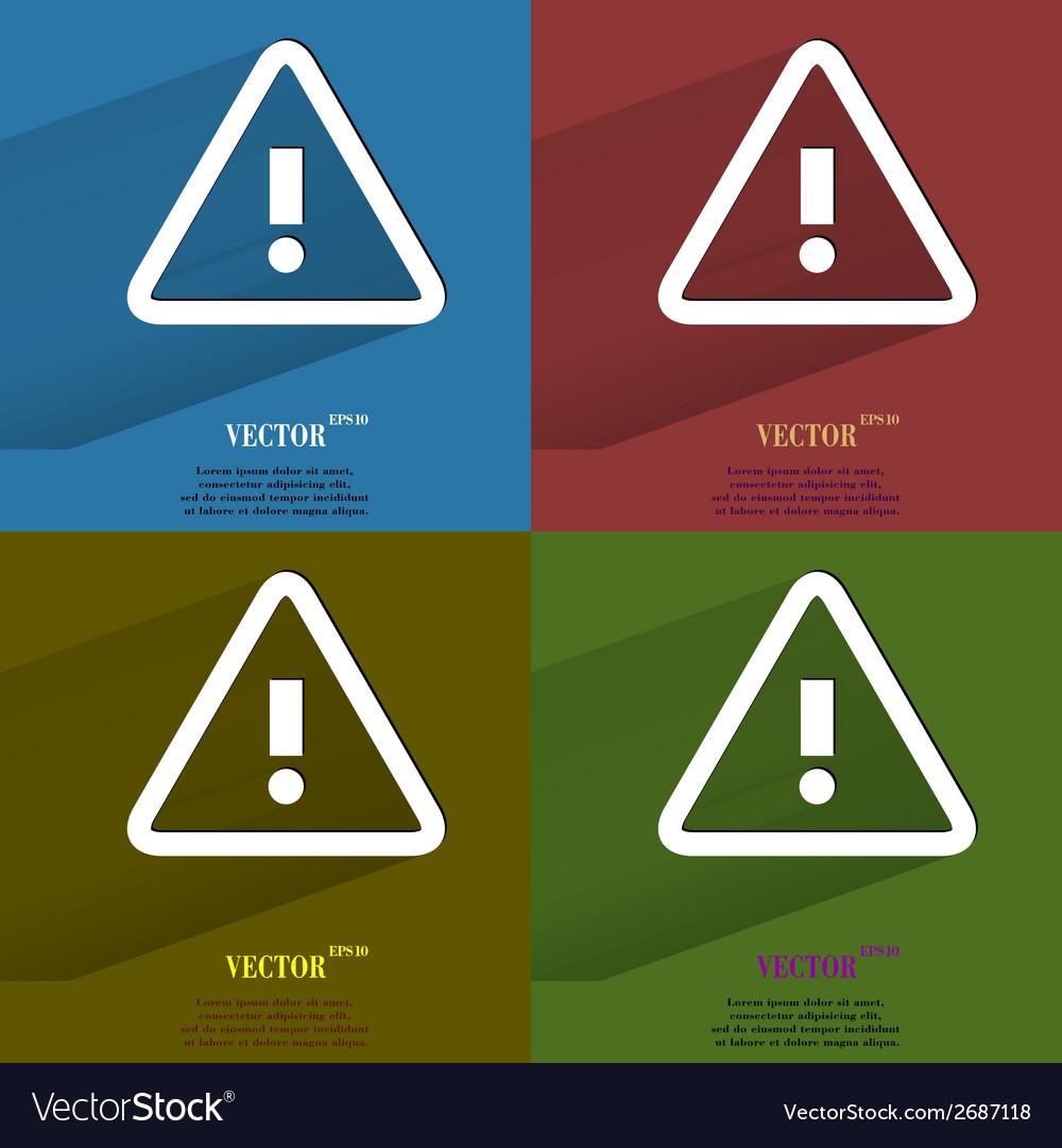 Color set danger exclamation mark flat modern web vector | Price: 1 Credit (USD $1)