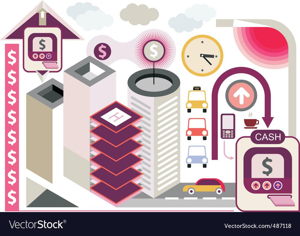 Financial center vector | Price: 3 Credit (USD $3)