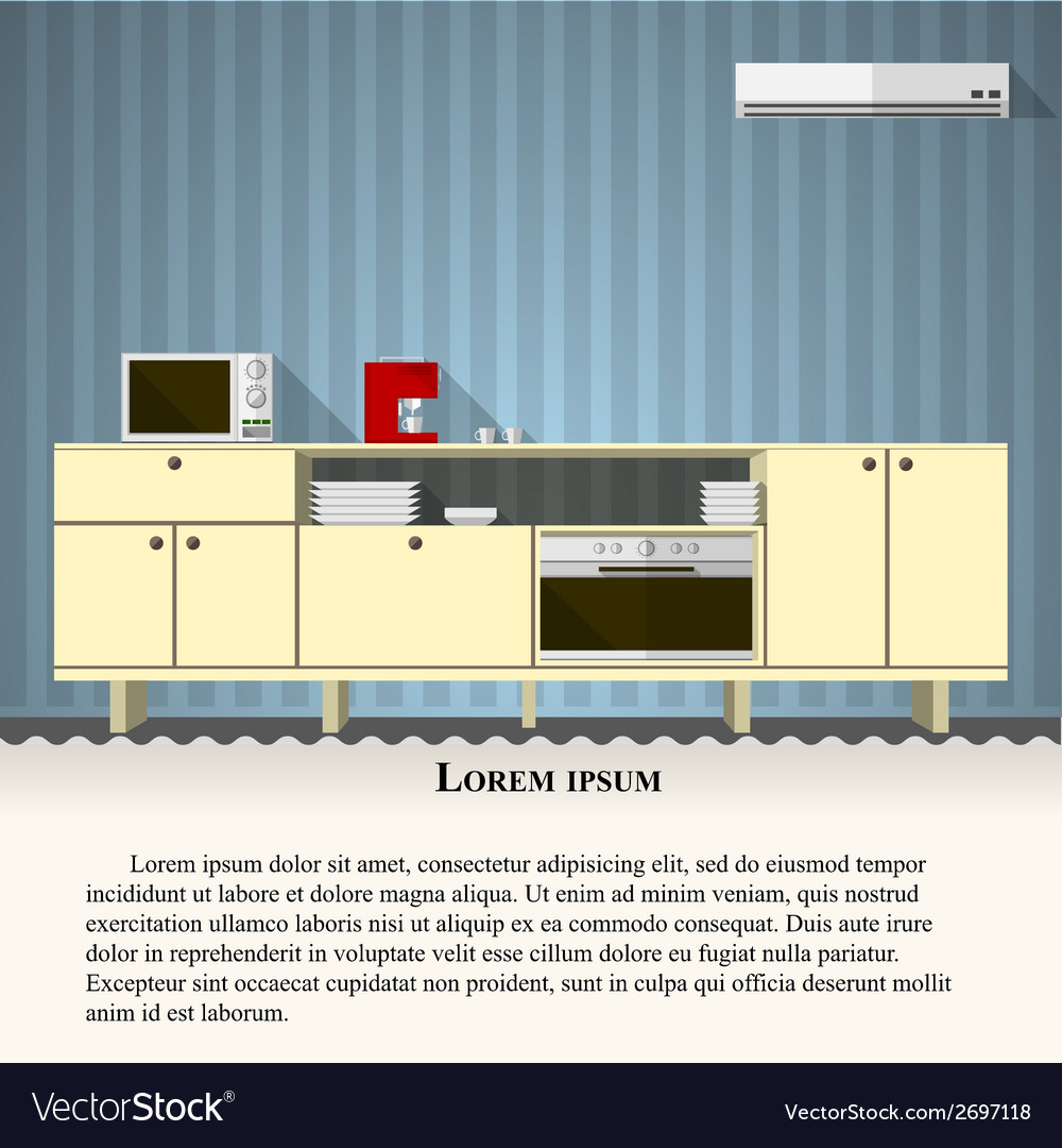 Flat of kitchen with blue wall vector | Price: 1 Credit (USD $1)