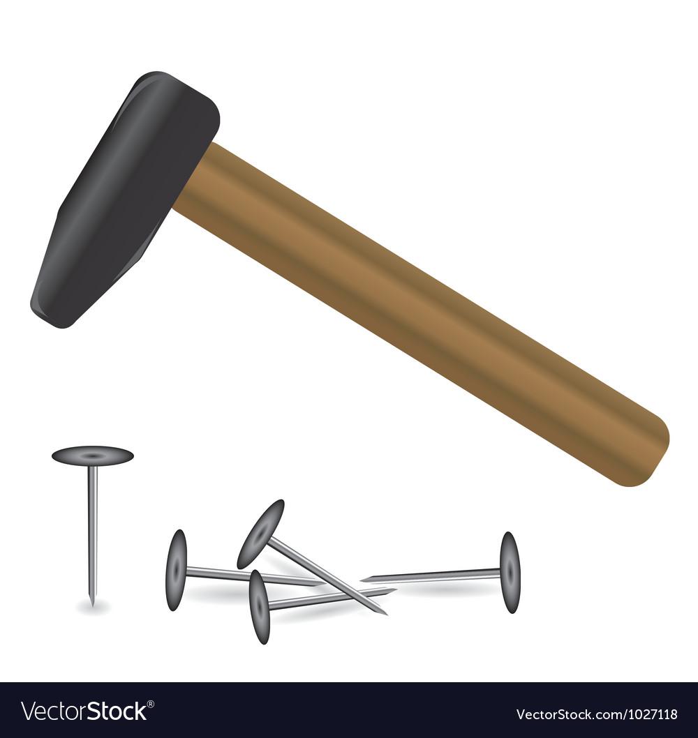 Hammer and tacks vector