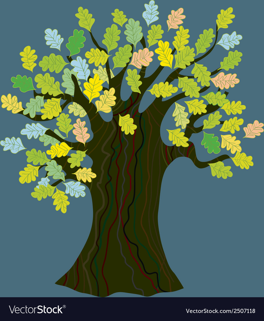Oak tree with leaves - funny design vector | Price: 1 Credit (USD $1)