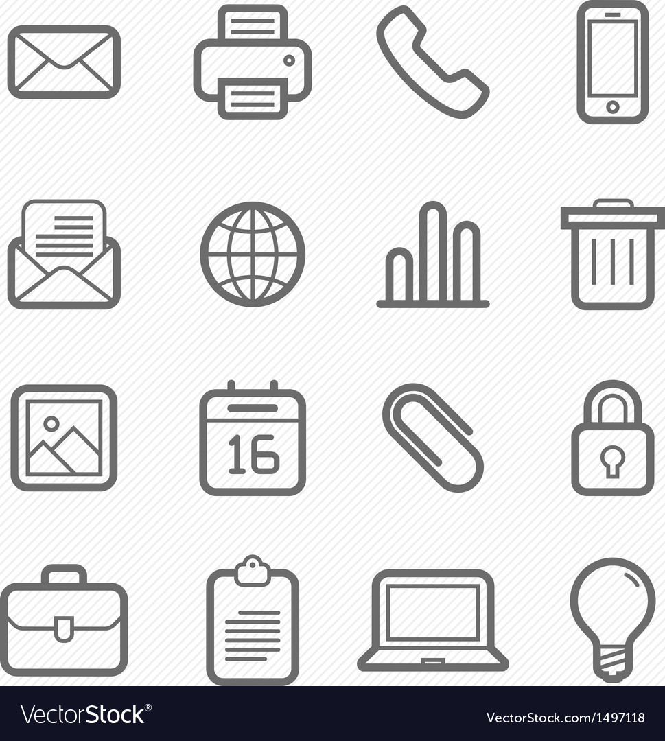 Office elements symbol line icon set vector | Price: 1 Credit (USD $1)