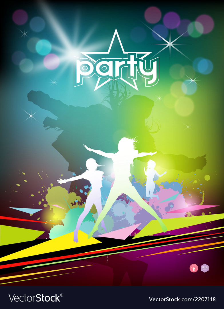 Silhouette woman colorful party design vector | Price: 1 Credit (USD $1)