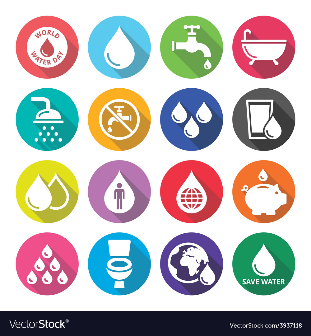 World water day icons  ecology green concept vector