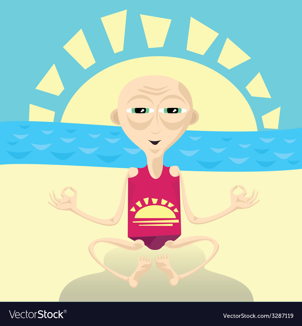 Abstract of yoga man sitting on the beach vector | Price: 1 Credit (USD $1)