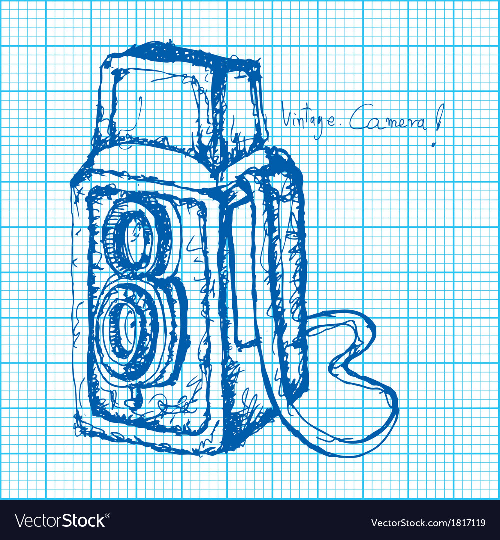 Drawing of vintage camera on graph paper vector | Price: 1 Credit (USD $1)