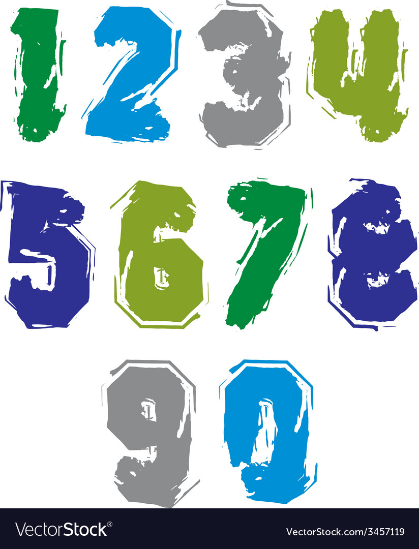 Handwritten colorful freak numbers stylish digits vector | Price: 1 Credit (USD $1)