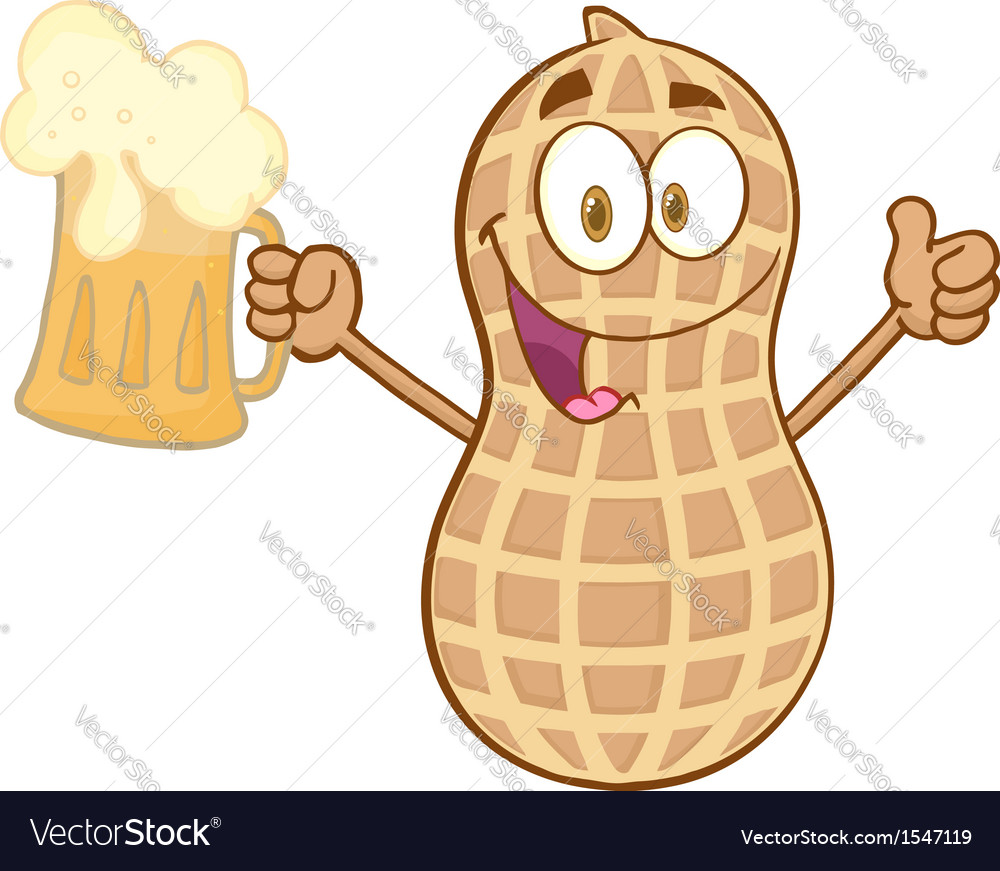 Peanut holding a beer vector | Price: 1 Credit (USD $1)