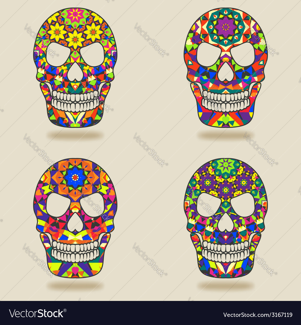 Skull with kaleidoscope pattern vector | Price: 1 Credit (USD $1)