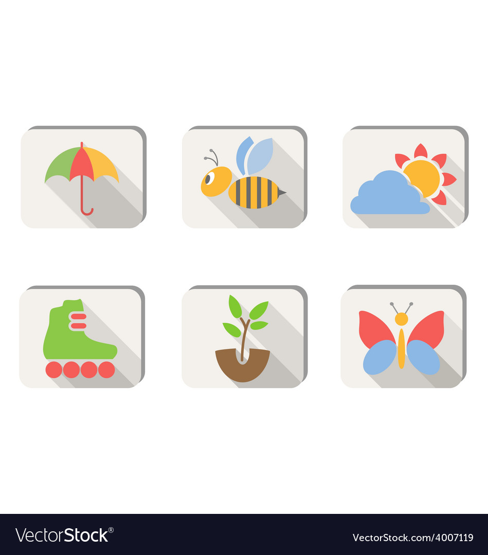 Spring icons buttons isolated on white vector   Price: 1 Credit (USD $1)