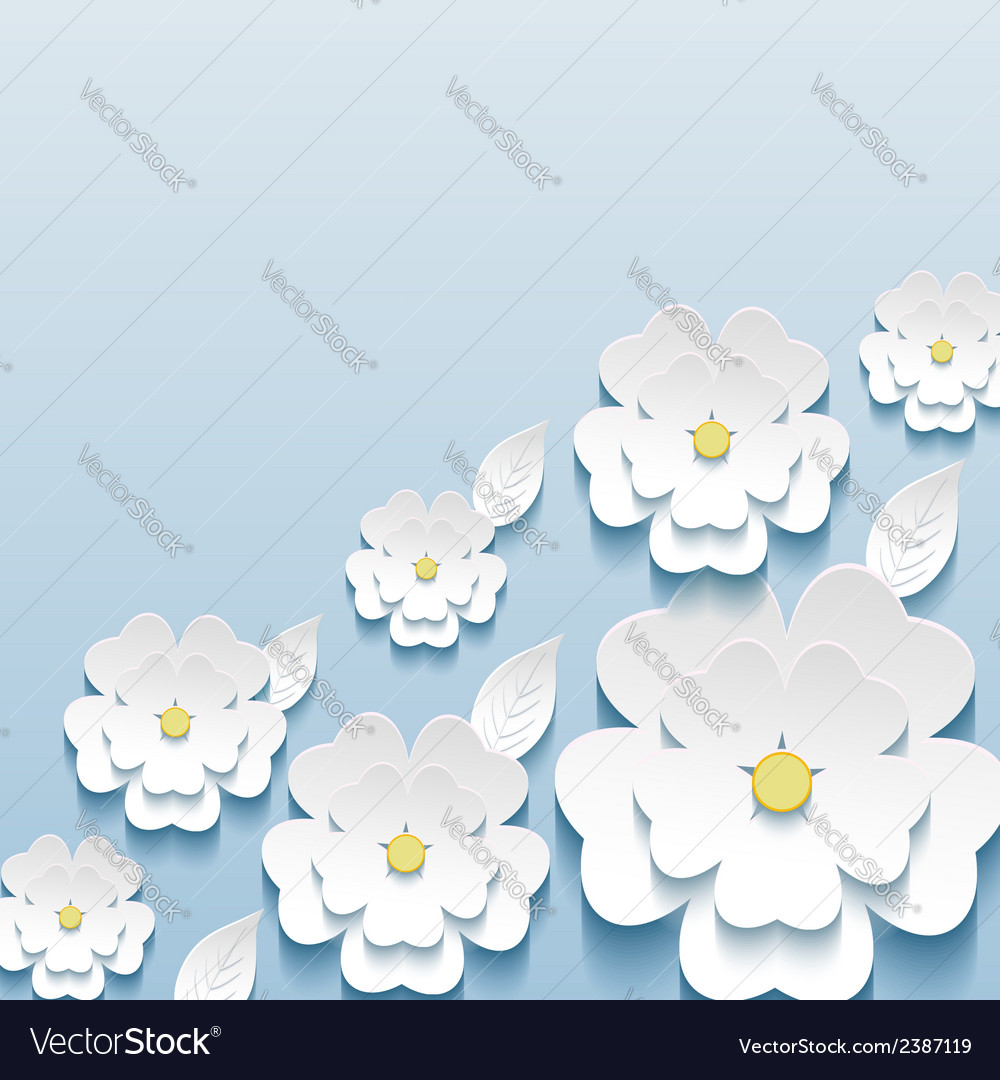 Wallpaper with 3d flowers sakura and leaf vector | Price: 1 Credit (USD $1)
