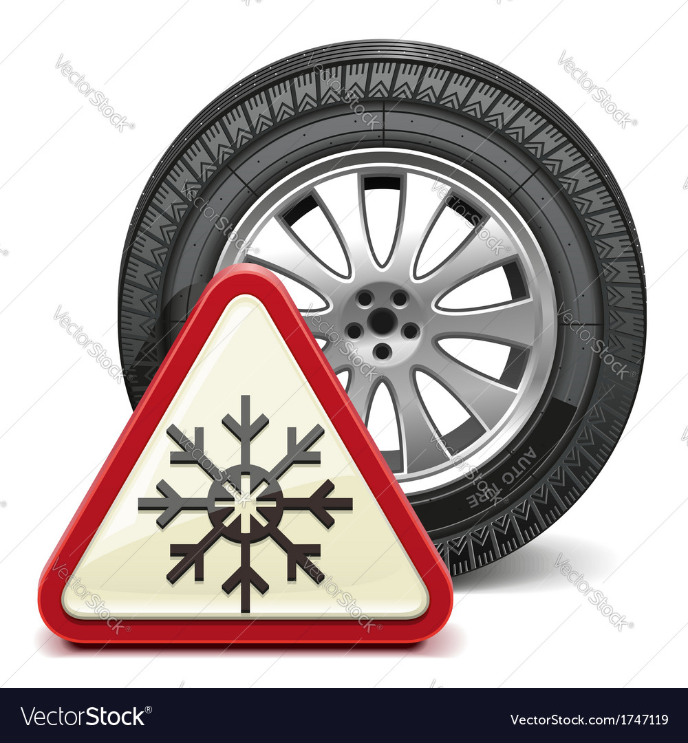 Winter tire with sign vector | Price: 1 Credit (USD $1)
