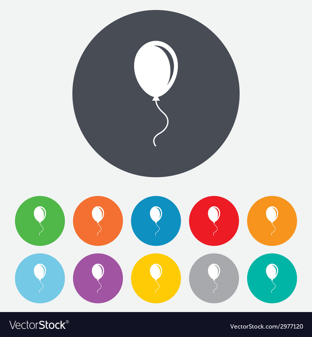 Balloon sign icon air balloon with rope vector | Price: 1 Credit (USD $1)
