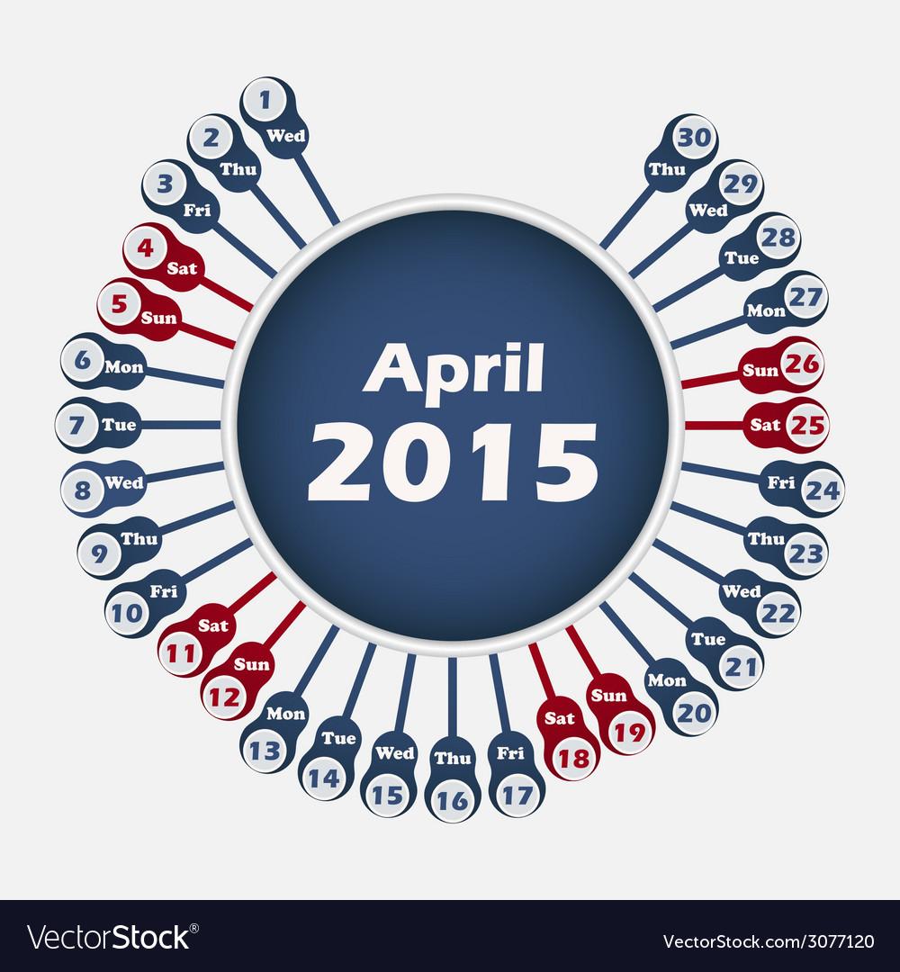 Calendar 2015 april template vector | Price: 1 Credit (USD $1)