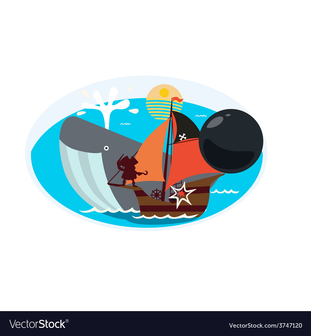 Design with whale and pirate ship vector | Price: 1 Credit (USD $1)