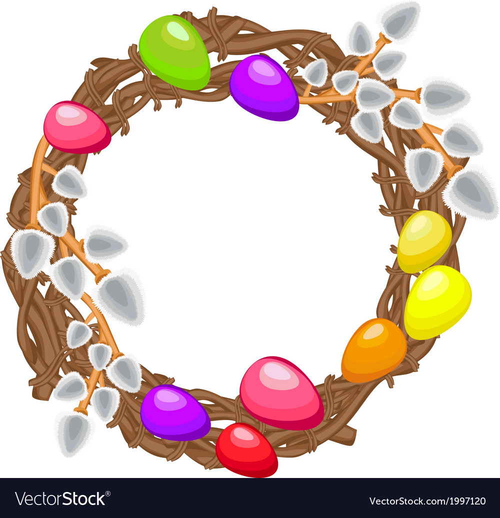 Easter wreath with willows colored eggs on a white vector   Price: 1 Credit (USD $1)