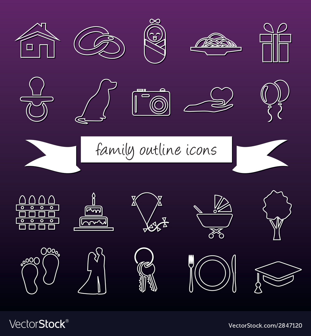 Family outline icons vector | Price: 1 Credit (USD $1)