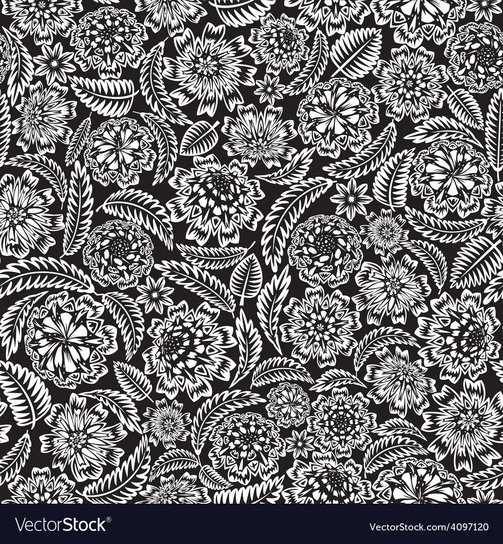 Flower and leaves seamless vector | Price: 1 Credit (USD $1)