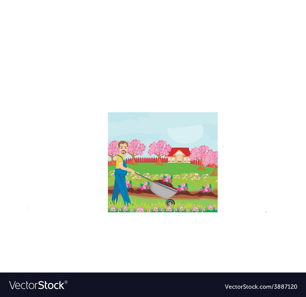 Gardener planting flowers vector | Price: 1 Credit (USD $1)