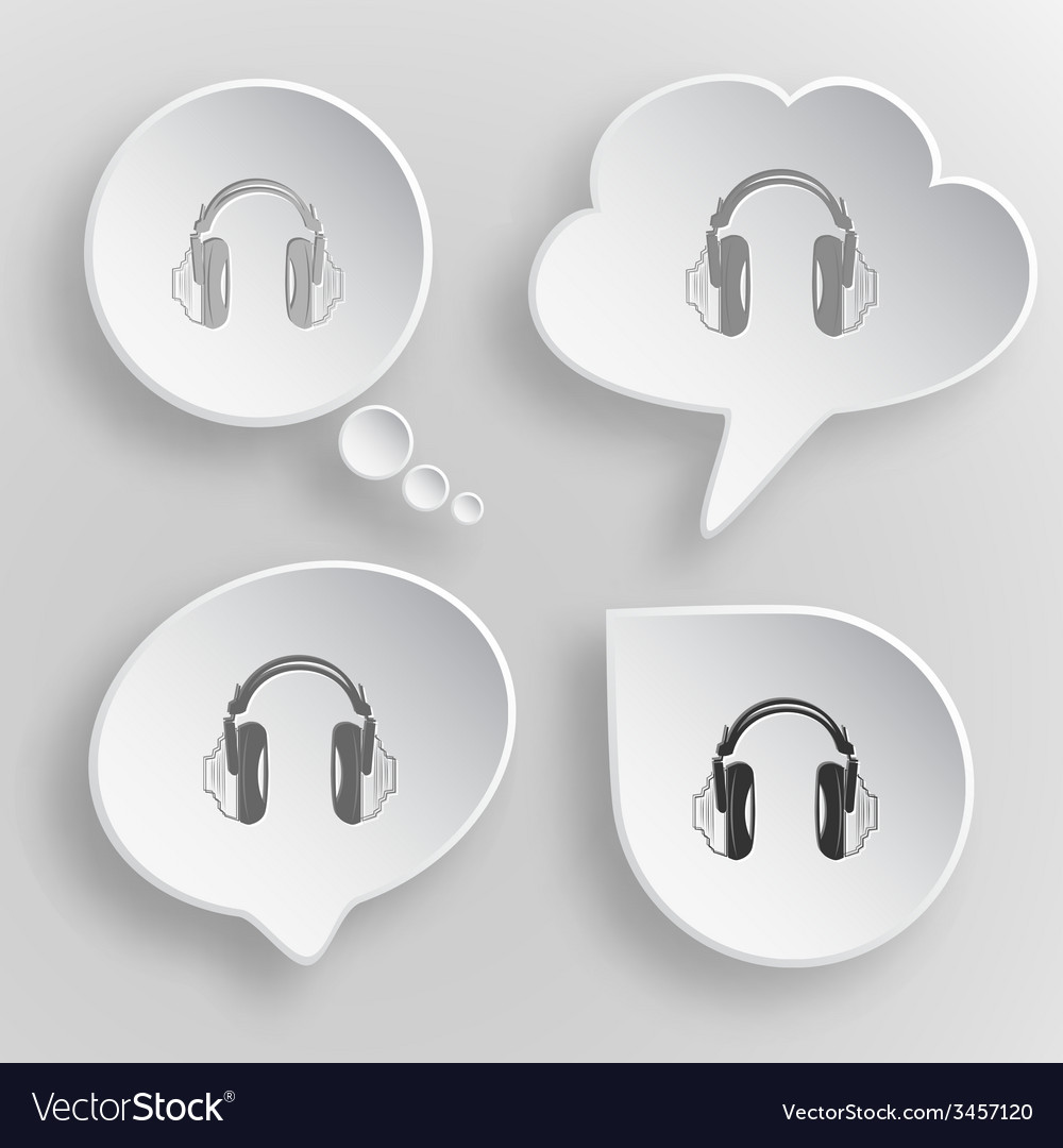 Headphones white flat buttons on gray background vector | Price: 1 Credit (USD $1)
