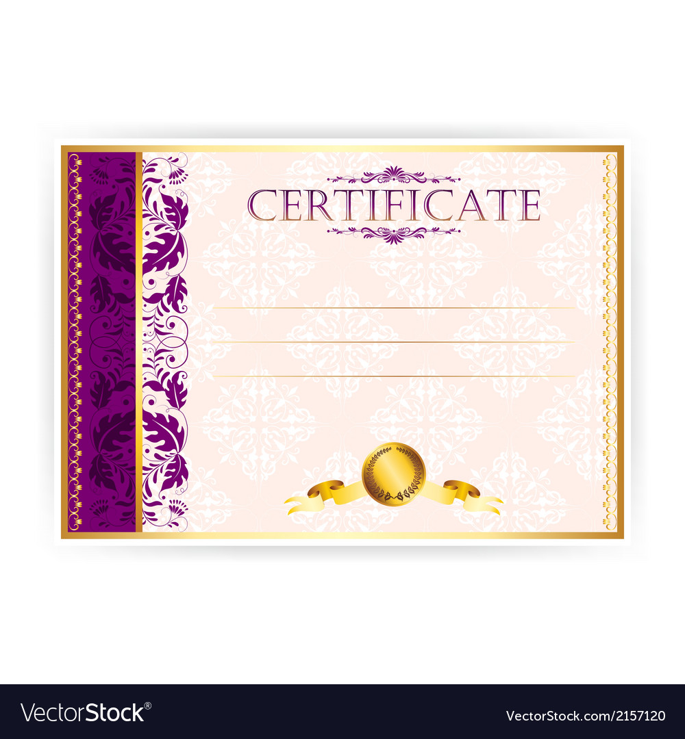 Horizontal certificate with a laurel wreath vector | Price: 1 Credit (USD $1)